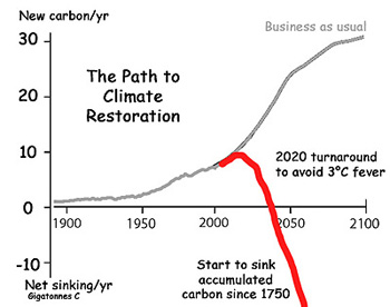 The gray line is simply my cocktail-napkin sketch of what is needed to reverse the growth in emissions by 2020 and getting into net removal of CO2 by 2040.